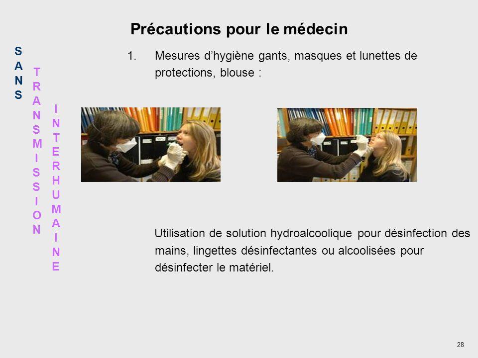 28 Précautions pour le médecin 1.Mesures dhygiène gants, masques et lunettes de protections, blouse : Utilisation de solution hydroalcoolique pour dés