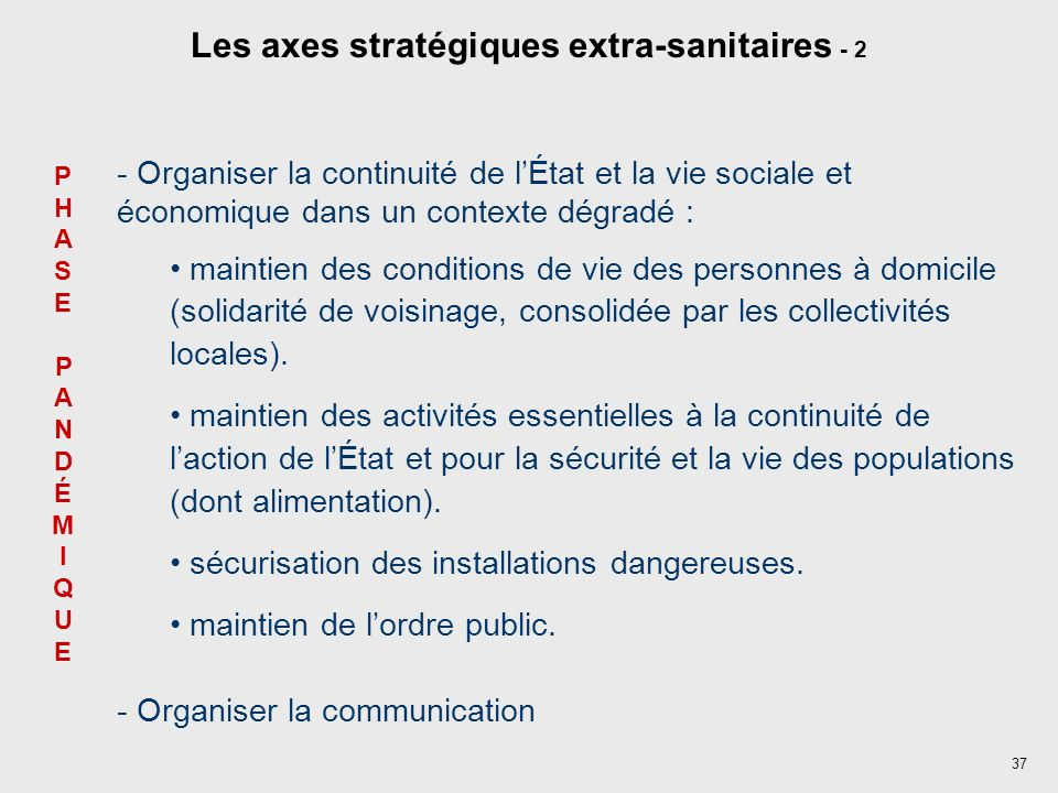 37 PHASEPANDÉMIQUEPHASEPANDÉMIQUE Les axes stratégiques extra-sanitaires - 2 - Organiser la continuité de lÉtat et la vie sociale et économique dans u
