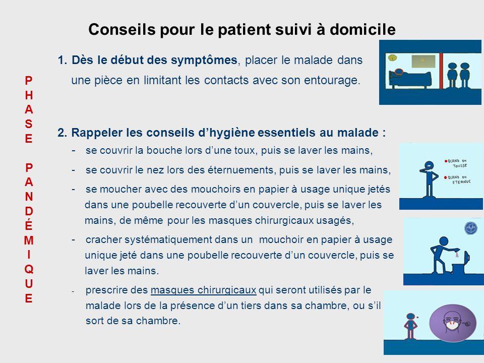 45 2. Rappeler les conseils dhygiène essentiels au malade : - se couvrir la bouche lors dune toux, puis se laver les mains, - se couvrir le nez lors d