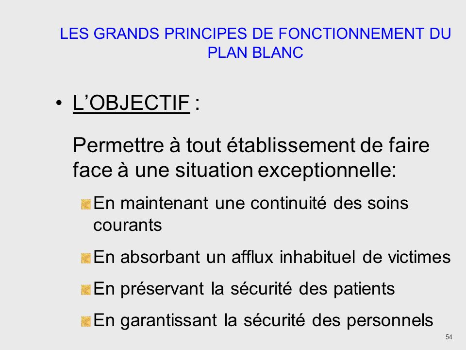 54 LES GRANDS PRINCIPES DE FONCTIONNEMENT DU PLAN BLANC LOBJECTIF : Permettre à tout établissement de faire face à une situation exceptionnelle: En ma