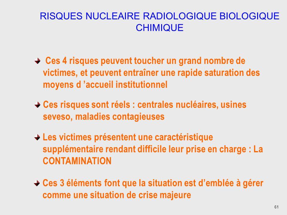 61 RISQUES NUCLEAIRE RADIOLOGIQUE BIOLOGIQUE CHIMIQUE Ces 4 risques peuvent toucher un grand nombre de victimes, et peuvent entraîner une rapide satur