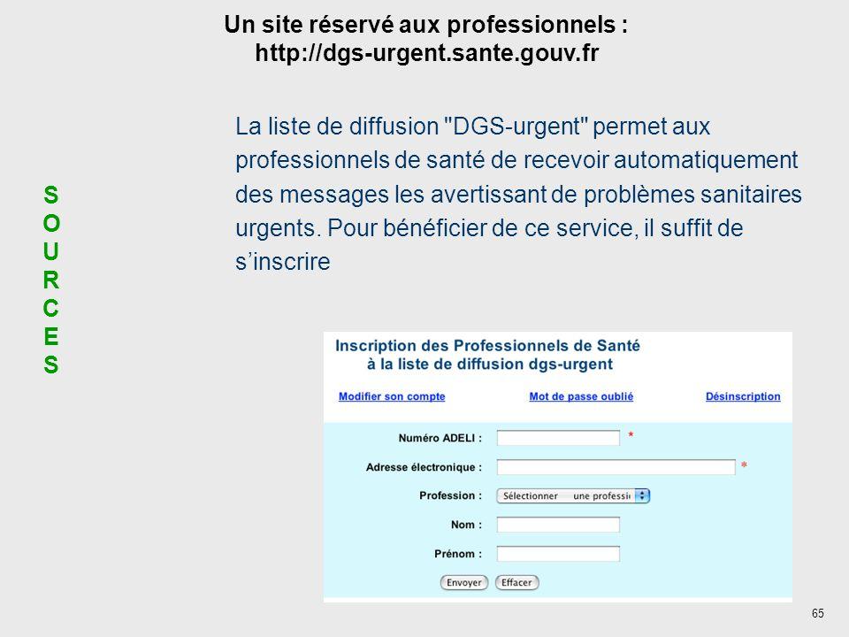 65 SOURCESSOURCES Un site réservé aux professionnels : http://dgs-urgent.sante.gouv.fr La liste de diffusion DGS-urgent permet aux professionnels de santé de recevoir automatiquement des messages les avertissant de problèmes sanitaires urgents.