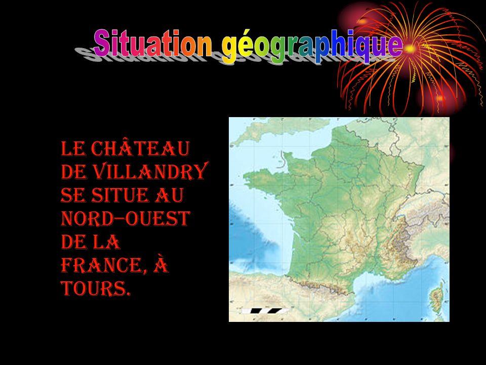 Le château de Villandry se situe au Nord–Ouest de la France, à Tours.