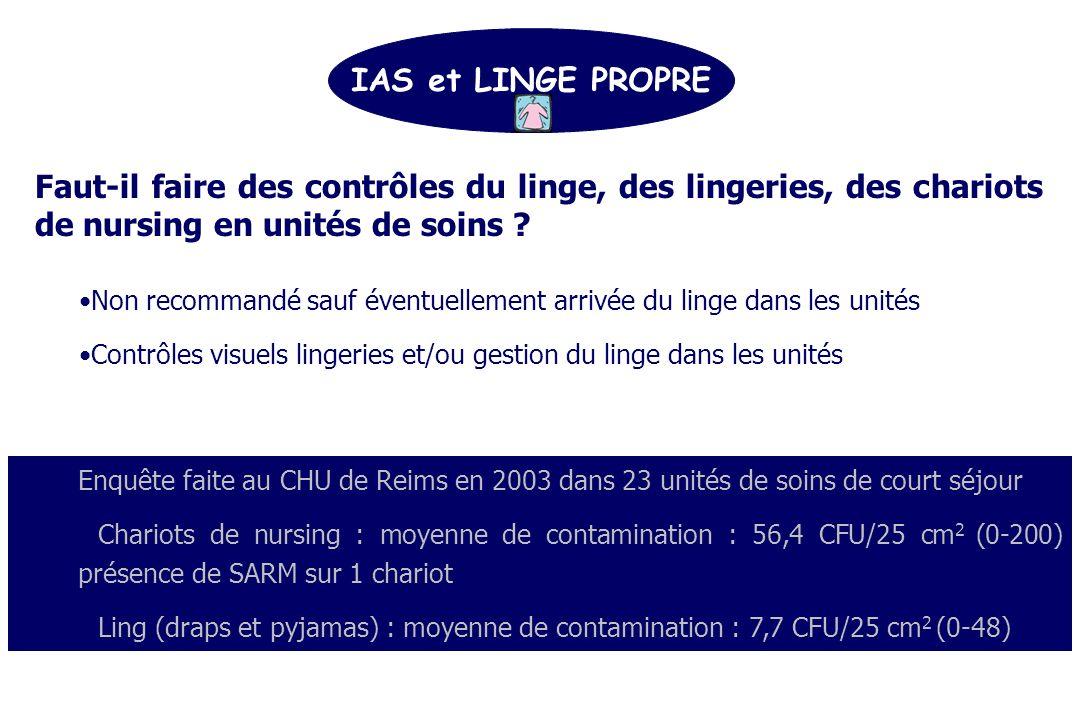 IAS et LINGE PROPRE Faut-il faire des contrôles du linge, des lingeries, des chariots de nursing en unités de soins .