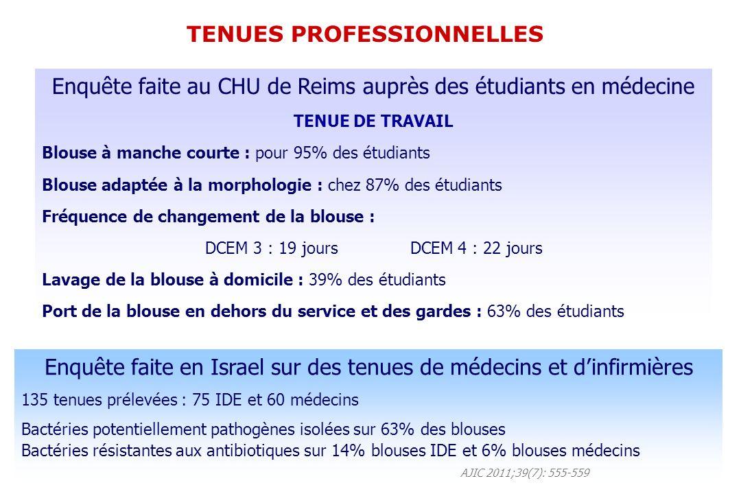Enquête faite au CHU de Reims auprès des étudiants en médecine TENUE DE TRAVAIL Blouse à manche courte : pour 95% des étudiants Blouse adaptée à la morphologie : chez 87% des étudiants Fréquence de changement de la blouse : DCEM 3 : 19 jours DCEM 4 : 22 jours Lavage de la blouse à domicile : 39% des étudiants Port de la blouse en dehors du service et des gardes : 63% des étudiants Enquête faite en Israel sur des tenues de médecins et dinfirmières 135 tenues prélevées : 75 IDE et 60 médecins Bactéries potentiellement pathogènes isolées sur 63% des blouses Bactéries résistantes aux antibiotiques sur 14% blouses IDE et 6% blouses médecins AJIC 2011;39(7): 555-559 TENUES PROFESSIONNELLES