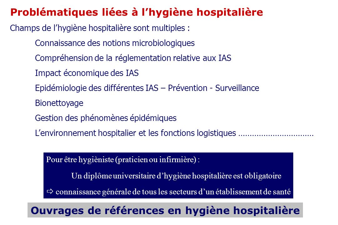 Problématiques liées à lhygiène hospitalière Champs de lhygiène hospitalière sont multiples : Connaissance des notions microbiologiques Compréhension de la réglementation relative aux IAS Impact économique des IAS Epidémiologie des différentes IAS – Prévention - Surveillance Bionettoyage Gestion des phénomènes épidémiques Lenvironnement hospitalier et les fonctions logistiques …………………………… Pour être hygièniste (praticien ou infirmière) : Un diplôme universitaire dhygiène hospitalière est obligatoire connaissance générale de tous les secteurs dun établissement de santé Ouvrages de références en hygiène hospitalière