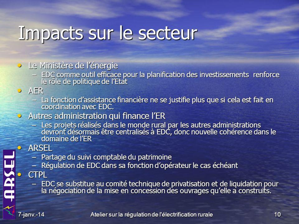 Impacts sur le secteur Le Ministère de lénergie Le Ministère de lénergie –EDC comme outil efficace pour la planification des investissements renforce