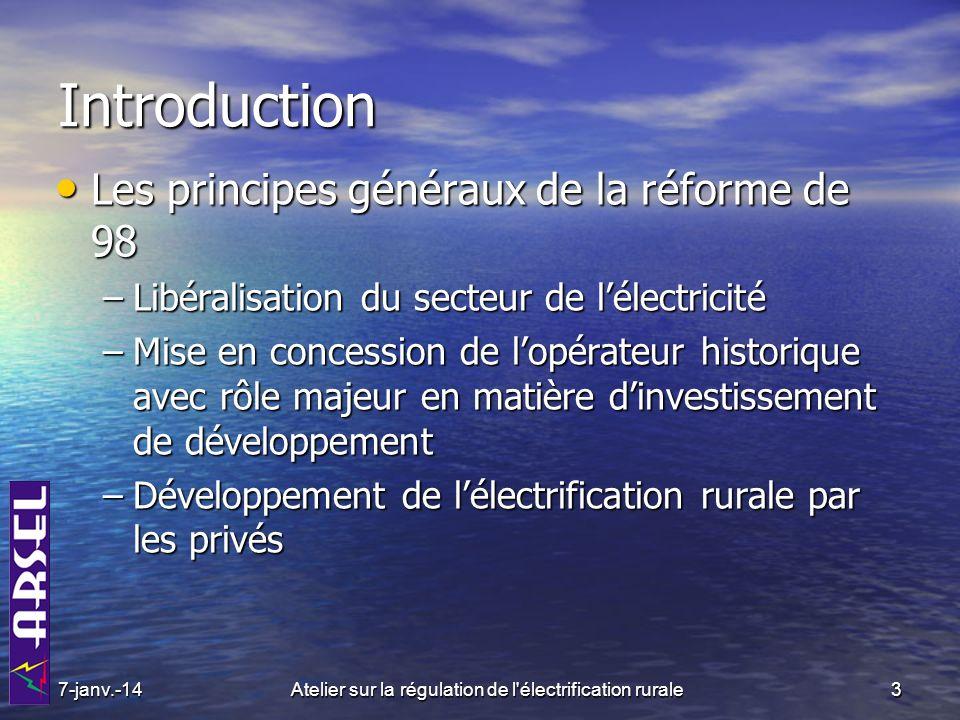 7-janv.-144Atelier sur la régulation de l électrification rurale Le cadre institutionnel issu de la réforme Lorganisation institutionnelle Lorganisation institutionnelle Opérateurs ARSEL Administration Usagers AER (98) EDC (2006)