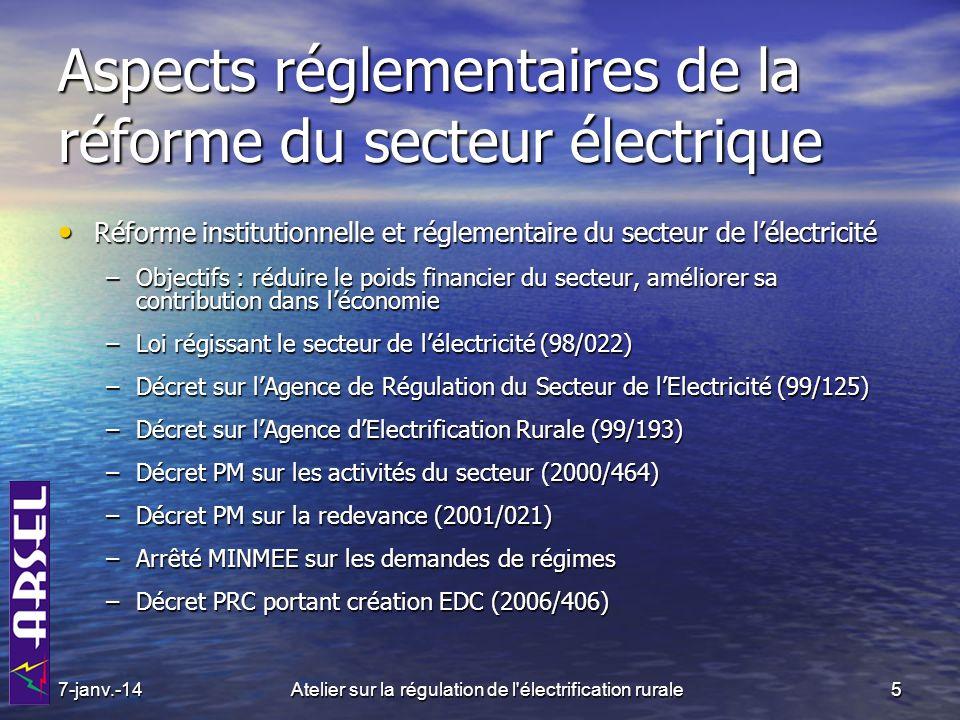 6Atelier sur la régulation de l électrification rurale EDC : Objet et missions EDC a pour objet EDC a pour objet –de gérer, pour le compte de l Etat, le patrimoine public dans le secteur de l électricité ; –d étudier, de préparer et de réaliser tout projet d infrastructure dans le secteur de l électricité qui lui est confié par l Etat.