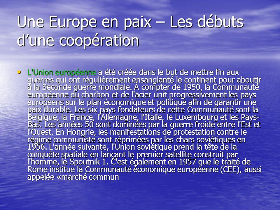 Au lendemain de la Seconde Guerre mondiale, l'Europe à bout de souffle cherche un moyen de consolider la paix si chèrement acquise. Le 17 mars 1948, l