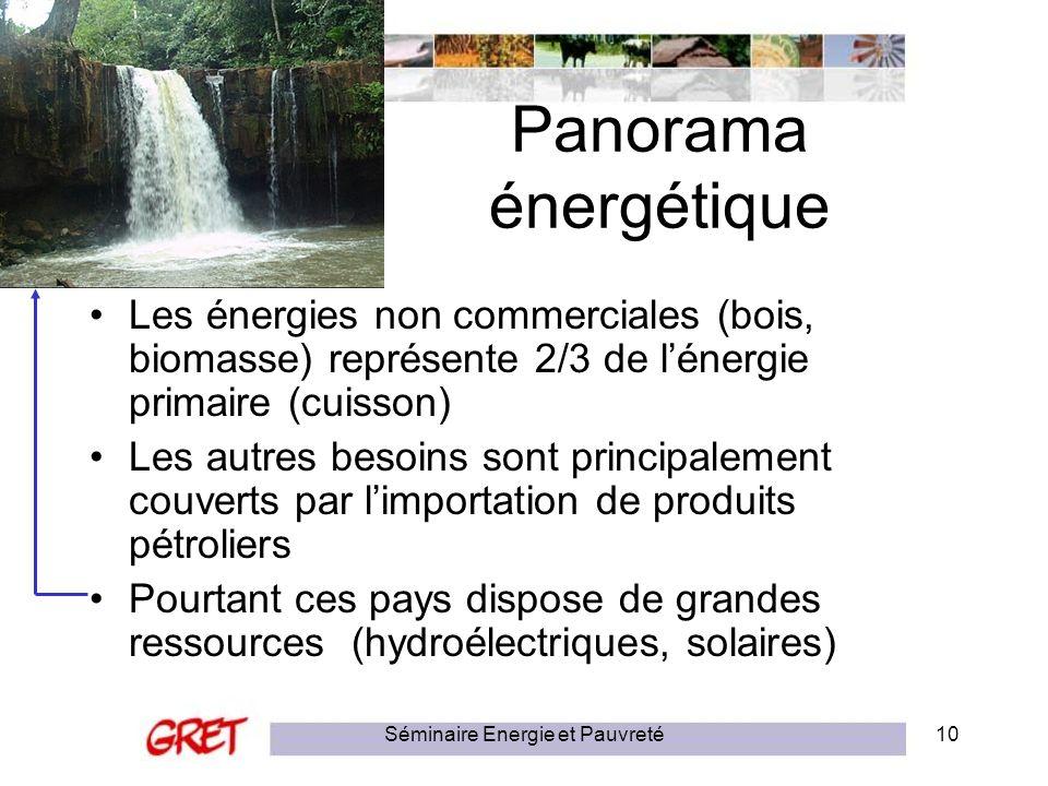 Séminaire Energie et Pauvreté10 Panorama énergétique Les énergies non commerciales (bois, biomasse) représente 2/3 de lénergie primaire (cuisson) Les