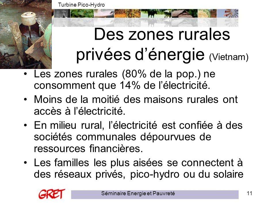 Séminaire Energie et Pauvreté11 Des zones rurales privées dénergie (Vietnam) Les zones rurales (80% de la pop.) ne consomment que 14% de lélectricité.