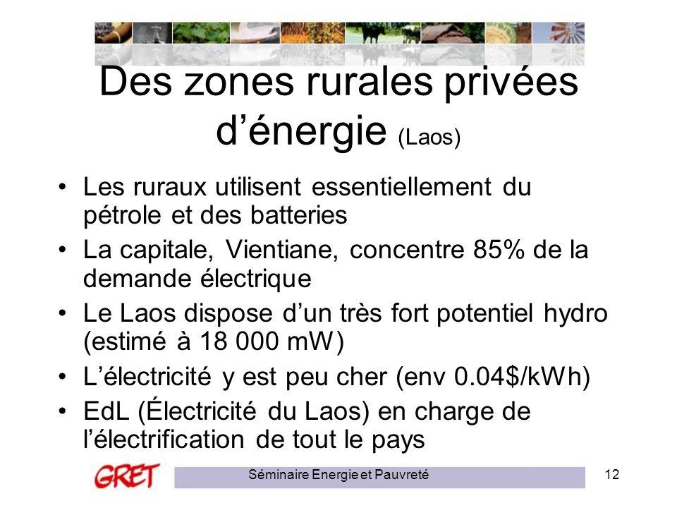 Séminaire Energie et Pauvreté12 Des zones rurales privées dénergie (Laos) Les ruraux utilisent essentiellement du pétrole et des batteries La capitale