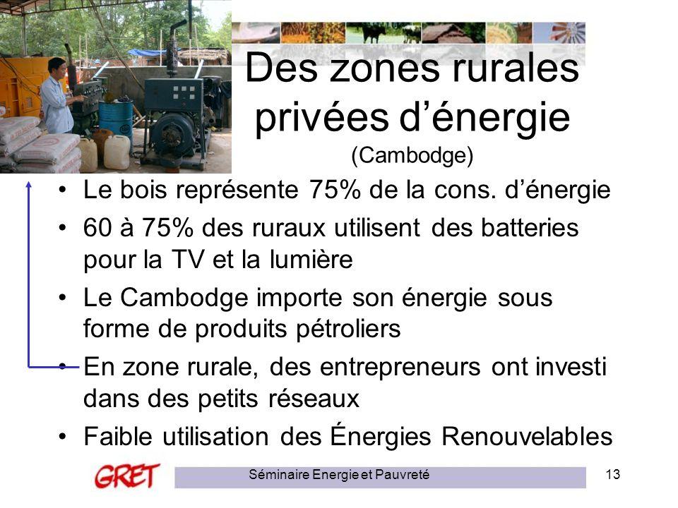 Séminaire Energie et Pauvreté13 Des zones rurales privées dénergie (Cambodge) Le bois représente 75% de la cons. dénergie 60 à 75% des ruraux utilisen
