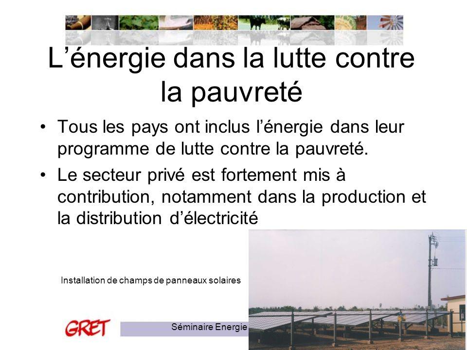 Séminaire Energie et Pauvreté15 Lénergie dans la lutte contre la pauvreté Tous les pays ont inclus lénergie dans leur programme de lutte contre la pau