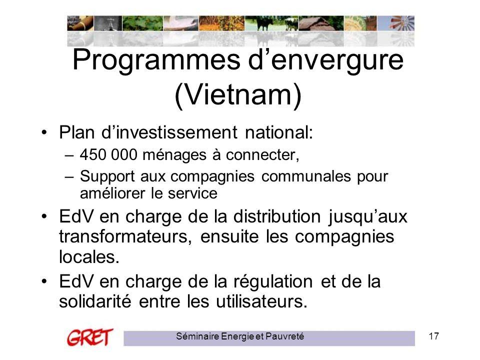 Séminaire Energie et Pauvreté17 Programmes denvergure (Vietnam) Plan dinvestissement national: –450 000 ménages à connecter, –Support aux compagnies c
