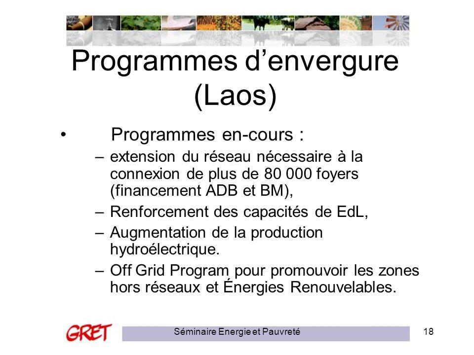Séminaire Energie et Pauvreté18 Programmes denvergure (Laos) Programmes en-cours : –extension du réseau nécessaire à la connexion de plus de 80 000 fo