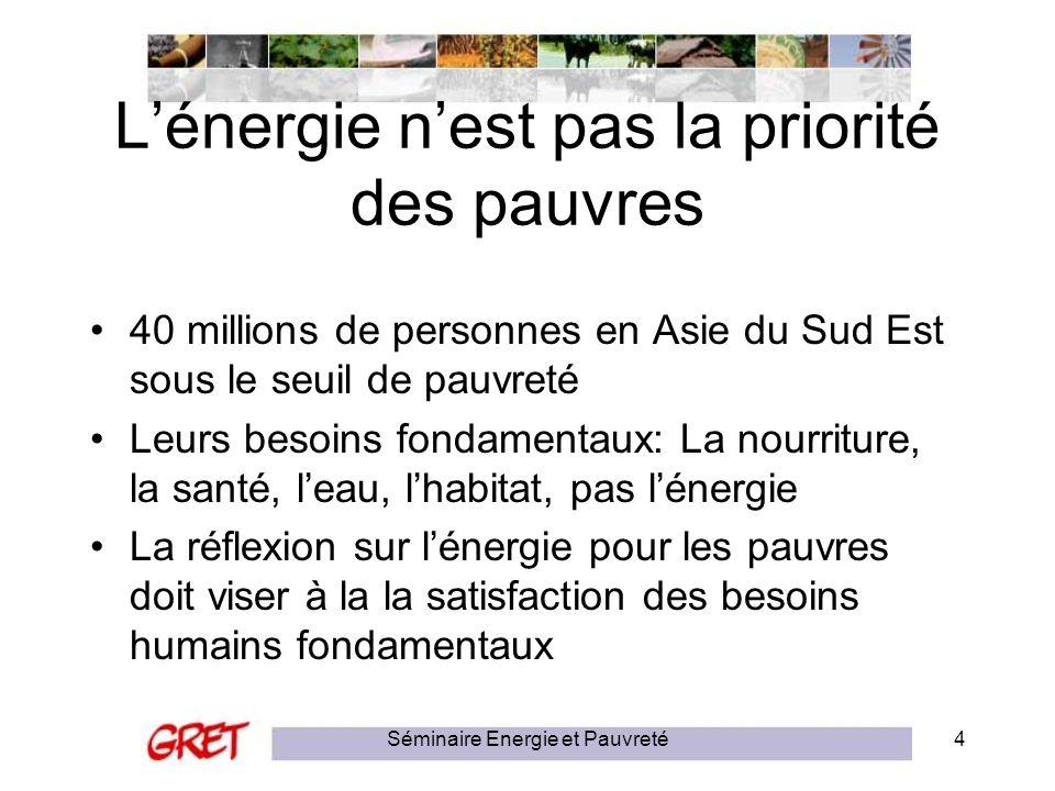 Séminaire Energie et Pauvreté4 Lénergie nest pas la priorité des pauvres 40 millions de personnes en Asie du Sud Est sous le seuil de pauvreté Leurs b