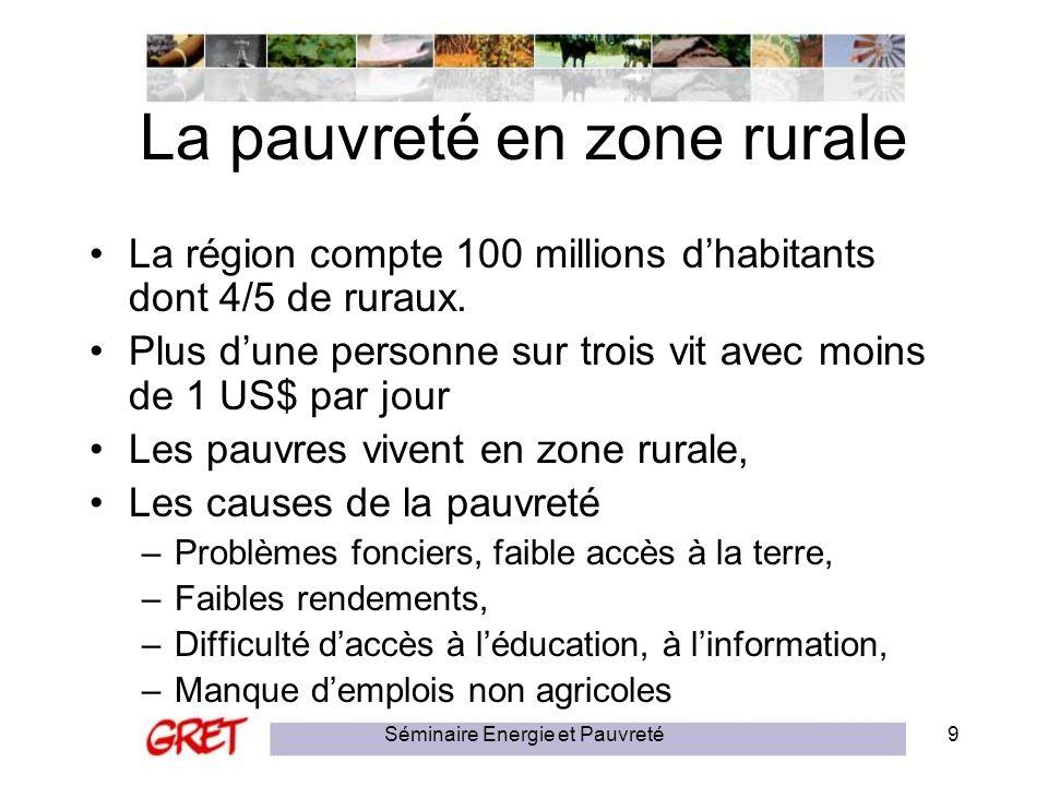 Séminaire Energie et Pauvreté9 La pauvreté en zone rurale La région compte 100 millions dhabitants dont 4/5 de ruraux. Plus dune personne sur trois vi