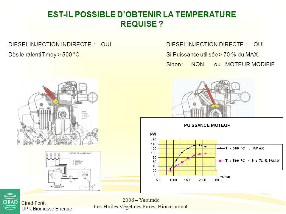 Cirad-Forêt UPR Biomasse Energie 2006 – Yaoundé Les Huiles Végétales Pures Biocarburant EST-IL POSSIBLE DOBTENIR LA TEMPERATURE REQUISE ? DIESEL INJEC