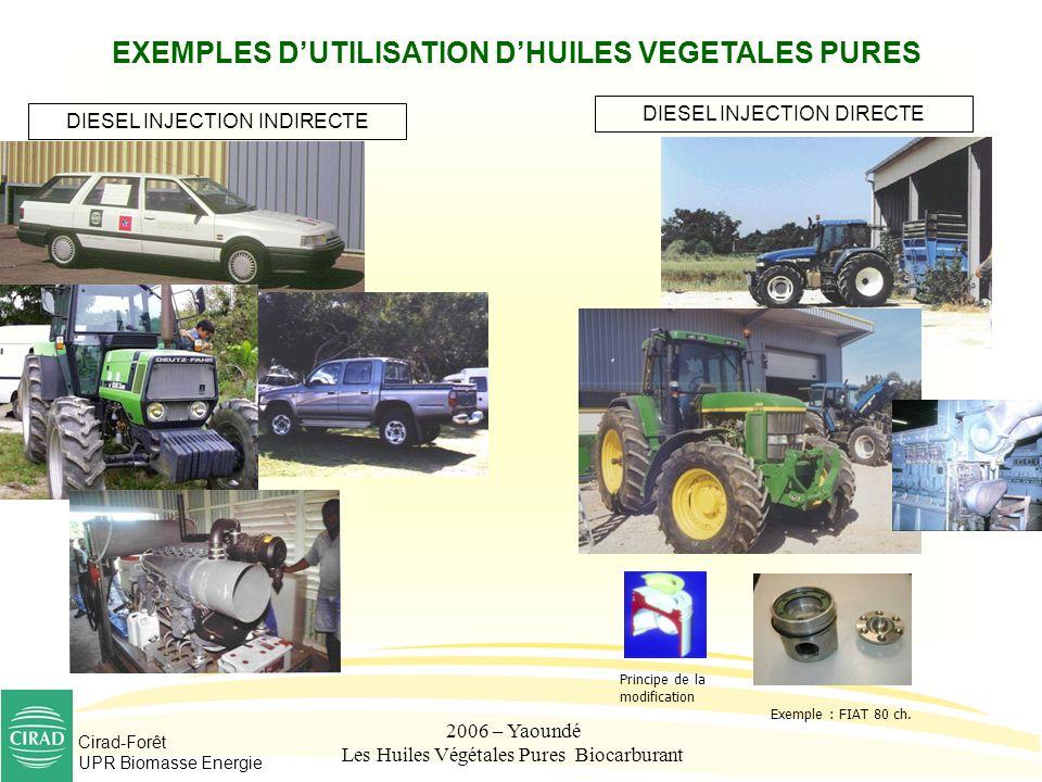 Cirad-Forêt UPR Biomasse Energie 2006 – Yaoundé Les Huiles Végétales Pures Biocarburant EXEMPLES DUTILISATION DHUILES VEGETALES PURES DIESEL INJECTION