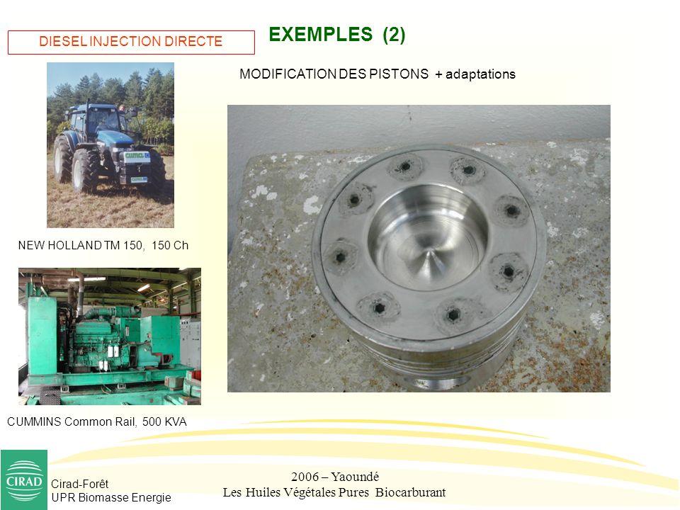 Cirad-Forêt UPR Biomasse Energie 2006 – Yaoundé Les Huiles Végétales Pures Biocarburant EXEMPLES (2) MODIFICATION DES PISTONS + adaptations DIESEL INJ