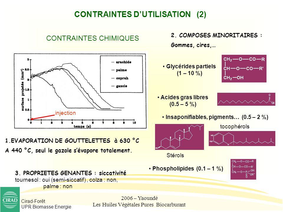 Cirad-Forêt UPR Biomasse Energie 2006 – Yaoundé Les Huiles Végétales Pures Biocarburant CONTRAINTES DUTILISATION (2) CONTRAINTES CHIMIQUES 1.EVAPORATI