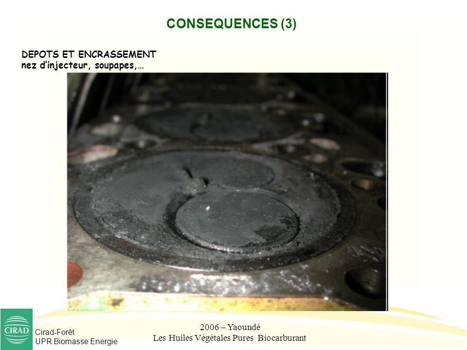 Cirad-Forêt UPR Biomasse Energie 2006 – Yaoundé Les Huiles Végétales Pures Biocarburant CONSEQUENCES (3) DEPOTS ET ENCRASSEMENT nez dinjecteur, soupap