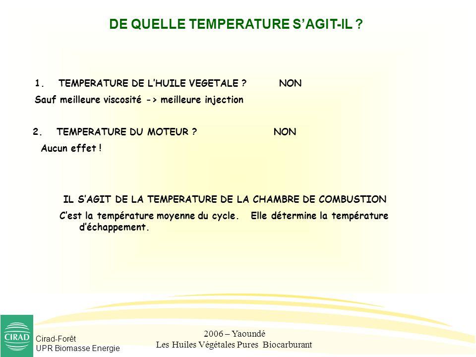 Cirad-Forêt UPR Biomasse Energie 2006 – Yaoundé Les Huiles Végétales Pures Biocarburant DE QUELLE TEMPERATURE SAGIT-IL ? 1.TEMPERATURE DE LHUILE VEGET