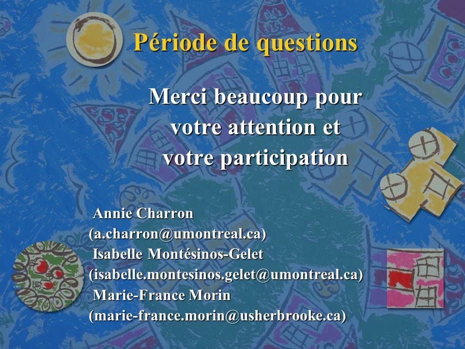 Période de questions Merci beaucoup pour votre attention et votre participation Annie Charron Annie Charron (a.charron@umontreal.ca) (a.charron@umontreal.ca) Isabelle Montésinos-Gelet Isabelle Montésinos-Gelet (isabelle.montesinos.gelet@umontreal.ca) (isabelle.montesinos.gelet@umontreal.ca) Marie-France Morin Marie-France Morin (marie-france.morin@usherbrooke.ca) (marie-france.morin@usherbrooke.ca)