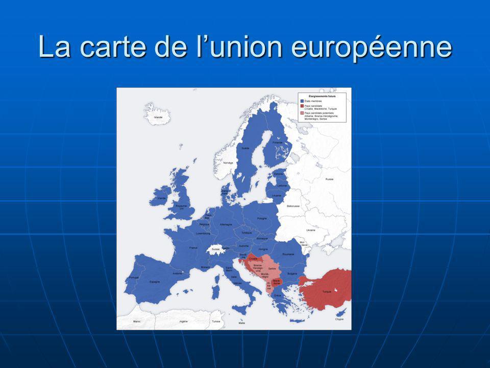 Union européenne [UE], cadre institutionnel organisant lespace communautaire européen et la coopération politique, économique et monétaire entre ses vingt-sept États membres.