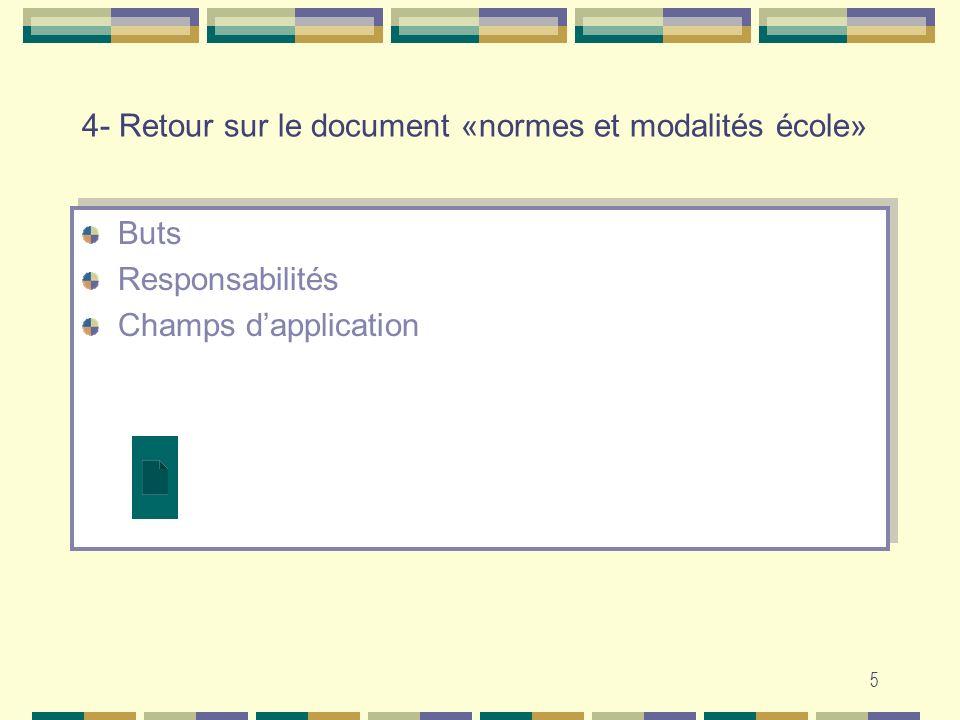16 Normes et modalités dévaluation Une norme …..