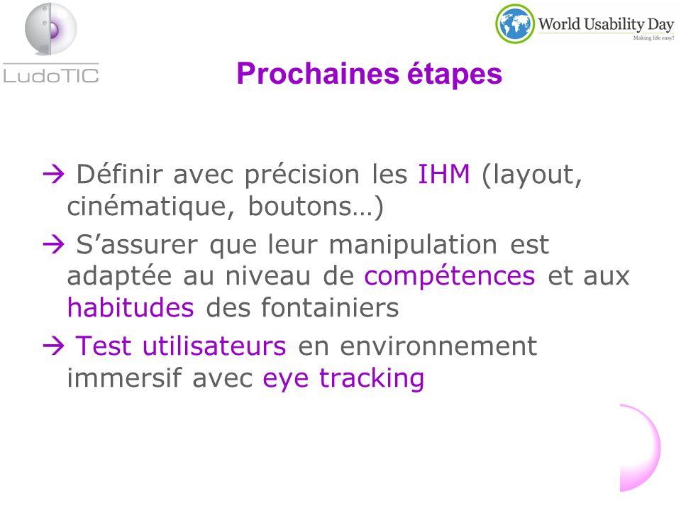 Prochaines étapes Définir avec précision les IHM (layout, cinématique, boutons…) Sassurer que leur manipulation est adaptée au niveau de compétences et aux habitudes des fontainiers Test utilisateurs en environnement immersif avec eye tracking
