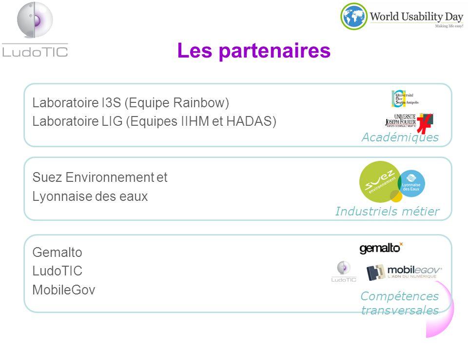 Laboratoire I3S (Equipe Rainbow) Laboratoire LIG (Equipes IIHM et HADAS) Suez Environnement et Lyonnaise des eaux Gemalto LudoTIC MobileGov Compétences transversales Industriels métier Les partenaires Académiques