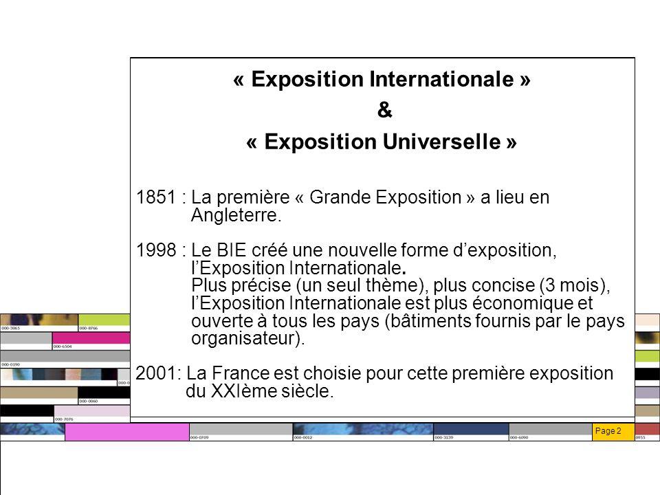 Page 3 LExpo 2004 : Faits majeurs Mars 2002 : la France invite officiellement les Etats à lExpo 2004, qui se tiendra du 7mai au 7 août 2004 en Seine-Saint-Denis.