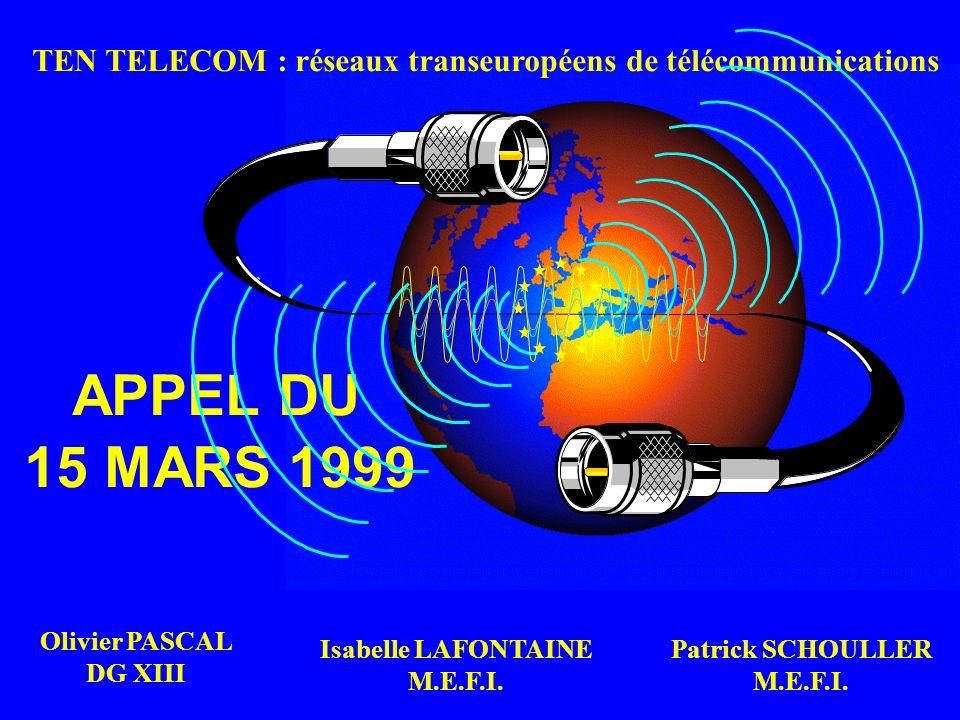 TEN TELECOM : réseaux transeuropéens de télécommunications APPEL DU 15 MARS 1999 Olivier PASCAL DG XIII Patrick SCHOULLER M.E.F.I. Isabelle LAFONTAINE