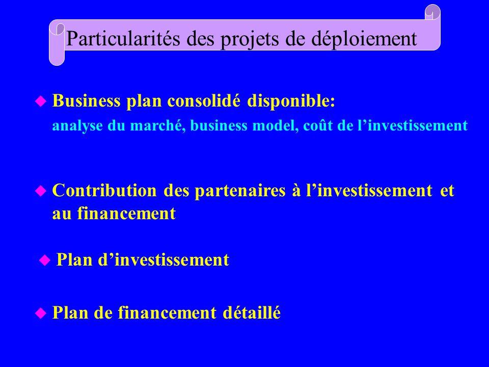 u Plan de financement détaillé Particularités des projets de déploiement u Business plan consolidé disponible: analyse du marché, business model, coût