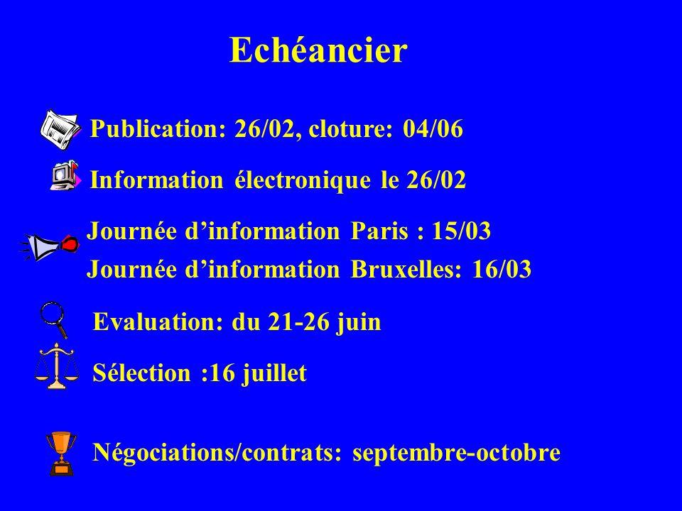 Echéancier Négociations/contrats: septembre-octobre u Publication: 26/02, cloture: 04/06 u Information électronique le 26/02 Journée dinformation Pari