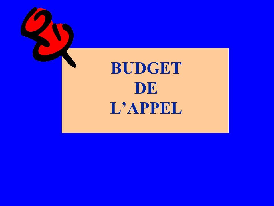 BUDGET DE LAPPEL