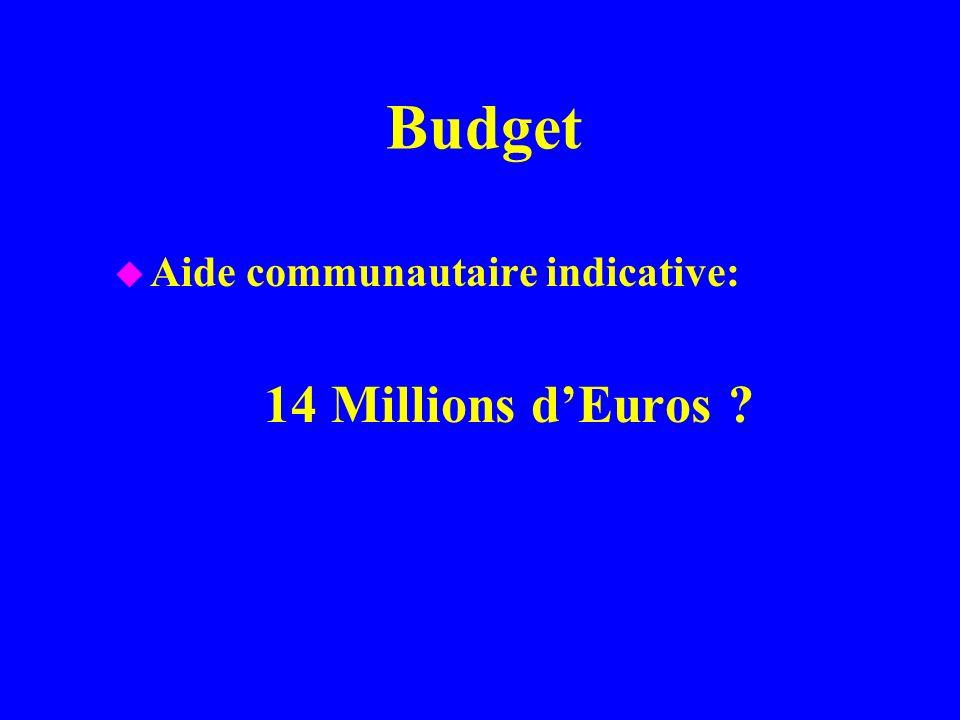 Budget u Aide communautaire indicative: 14 Millions dEuros ?