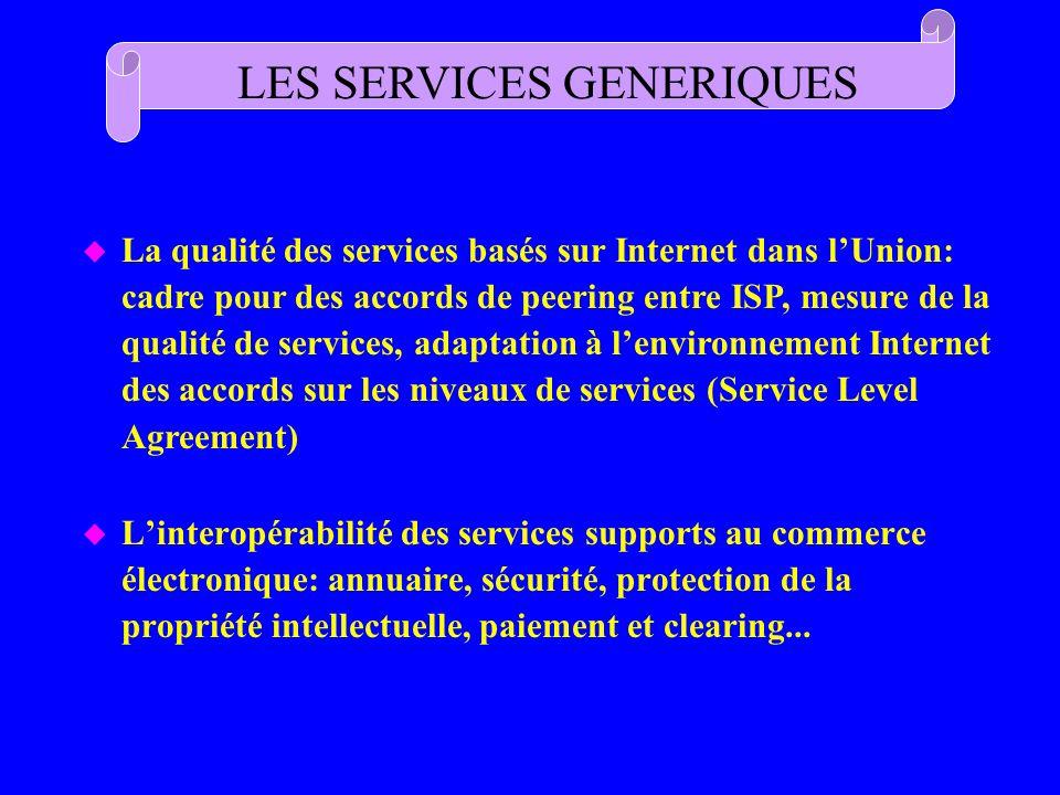 u Linteropérabilité des services supports au commerce électronique: annuaire, sécurité, protection de la propriété intellectuelle, paiement et clearin