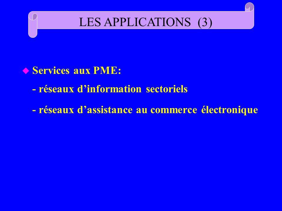 u Services aux PME: - réseaux dinformation sectoriels - réseaux dassistance au commerce électronique LES APPLICATIONS (3)