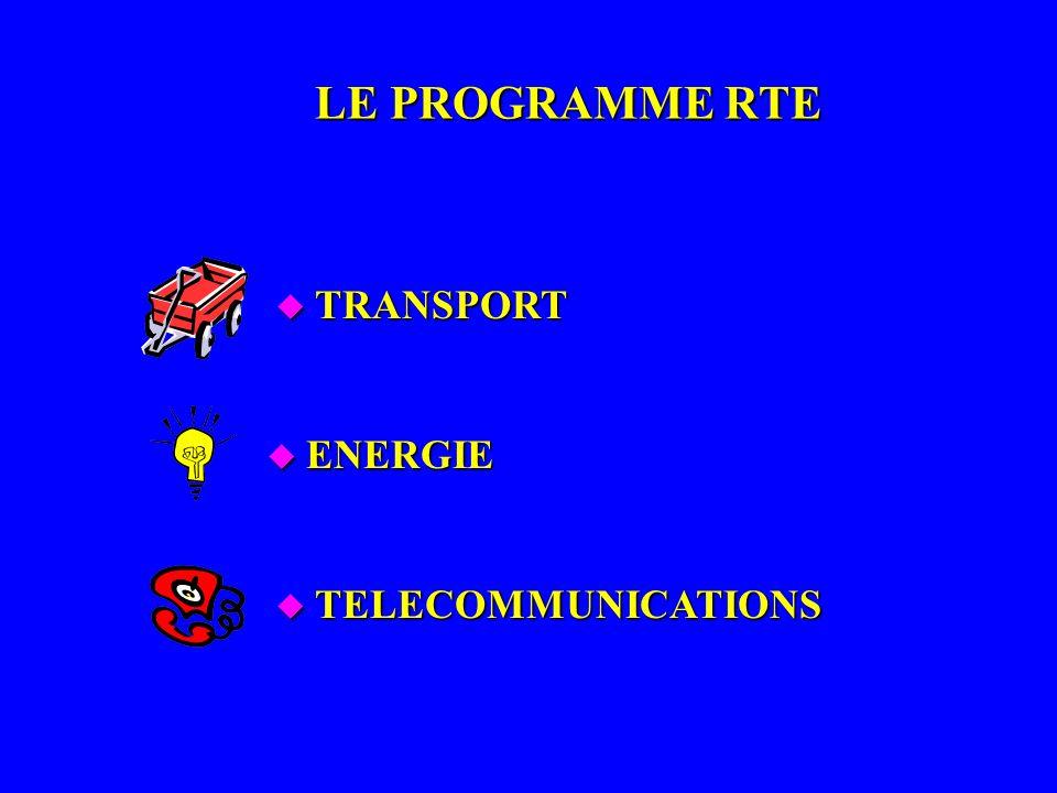 LE PROGRAMME RTE u TELECOMMUNICATIONS u ENERGIE u TRANSPORT