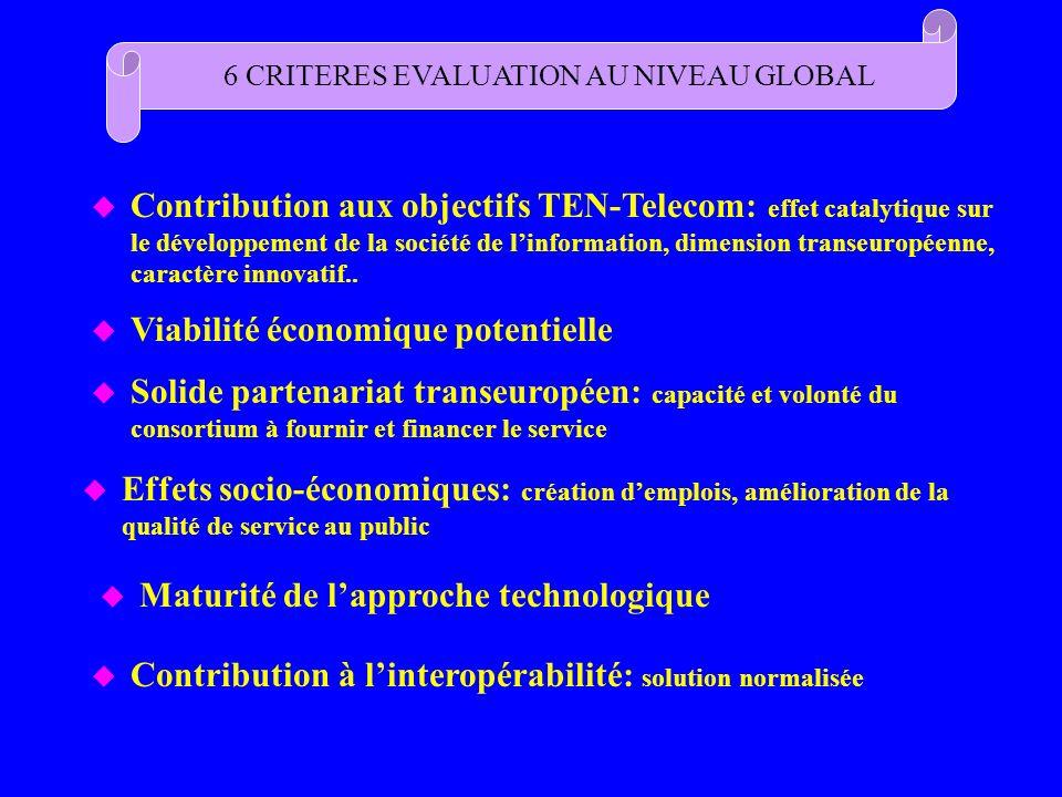 6 CRITERES EVALUATION AU NIVEAU GLOBAL u Contribution aux objectifs TEN-Telecom: effet catalytique sur le développement de la société de linformation,