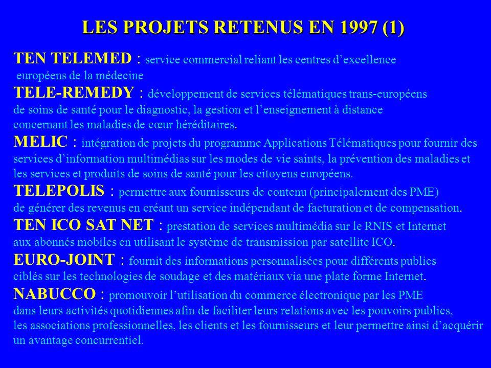 LES PROJETS RETENUS EN 1997 (1) TEN TELEMED : service commercial reliant les centres dexcellence européens de la médecine TELE-REMEDY : développement