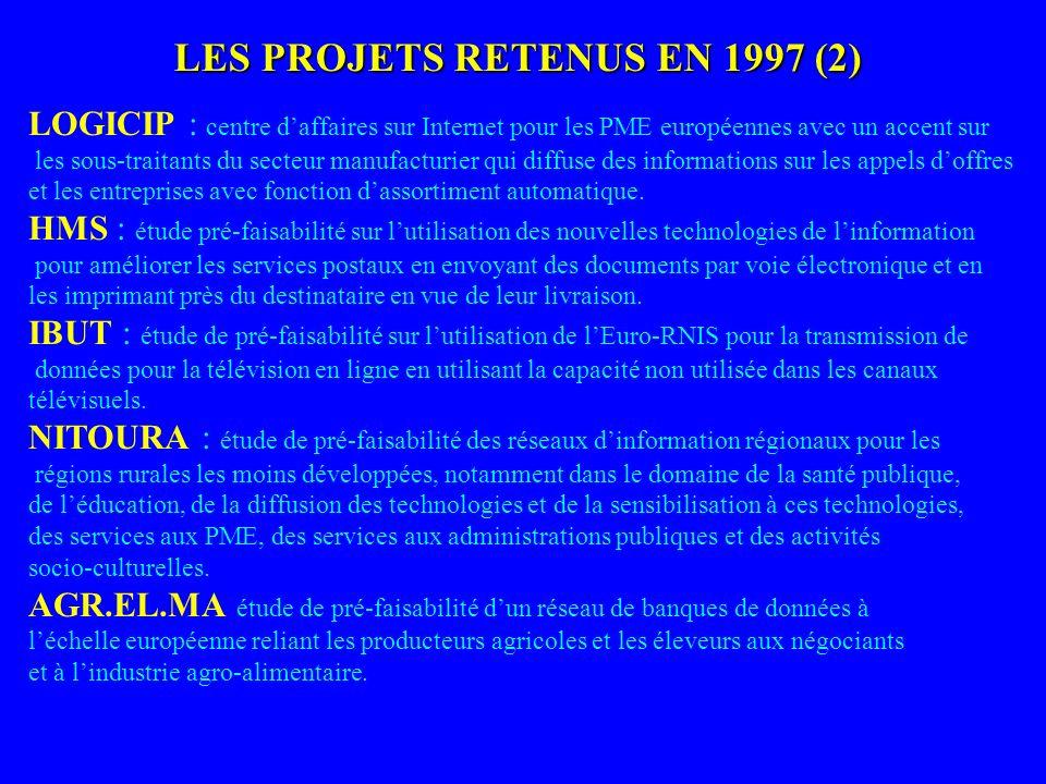 LES PROJETS RETENUS EN 1997 (2) LOGICIP : centre daffaires sur Internet pour les PME européennes avec un accent sur les sous-traitants du secteur manu