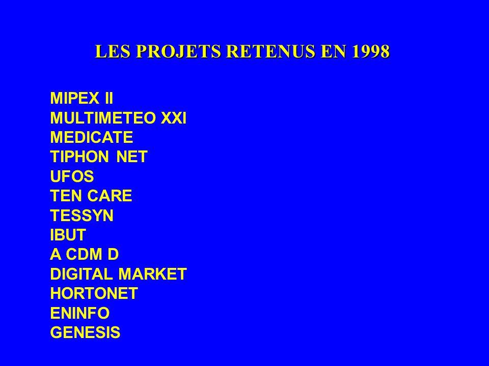 LES PROJETS RETENUS EN 1998 MIPEX II MULTIMETEO XXI MEDICATE TIPHON NET UFOS TEN CARE TESSYN IBUT A CDM D DIGITAL MARKET HORTONET ENINFO GENESIS