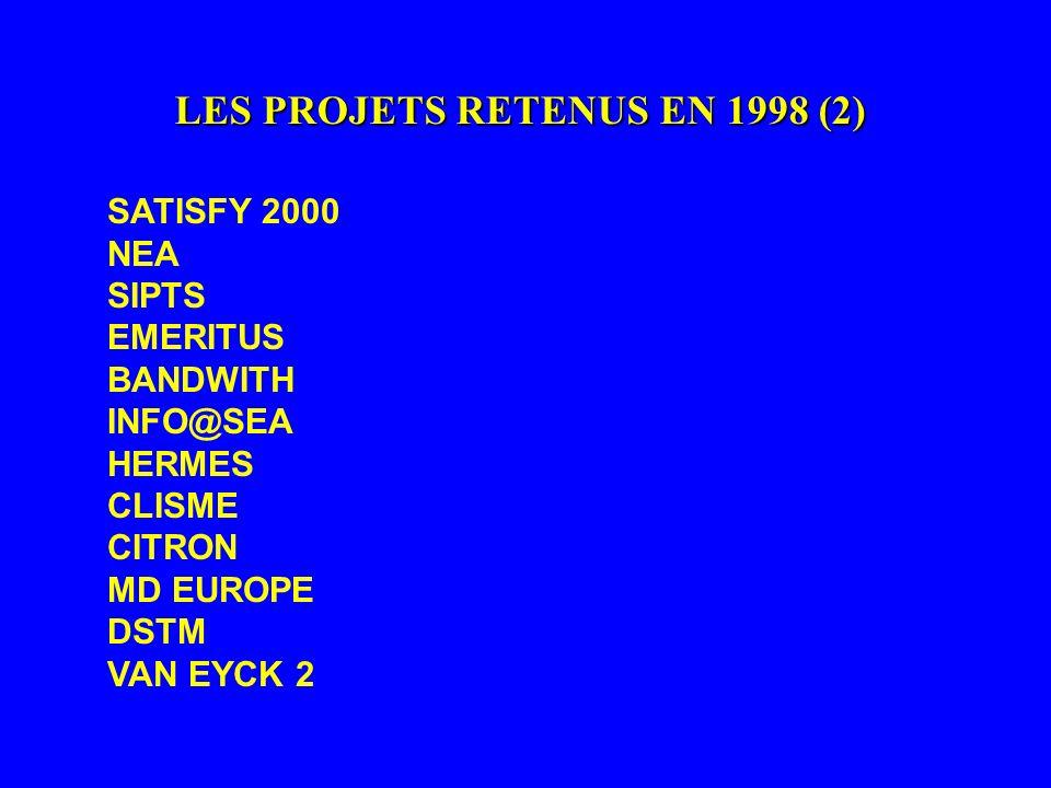 LES PROJETS RETENUS EN 1998 (2) SATISFY 2000 NEA SIPTS EMERITUS BANDWITH INFO@SEA HERMES CLISME CITRON MD EUROPE DSTM VAN EYCK 2