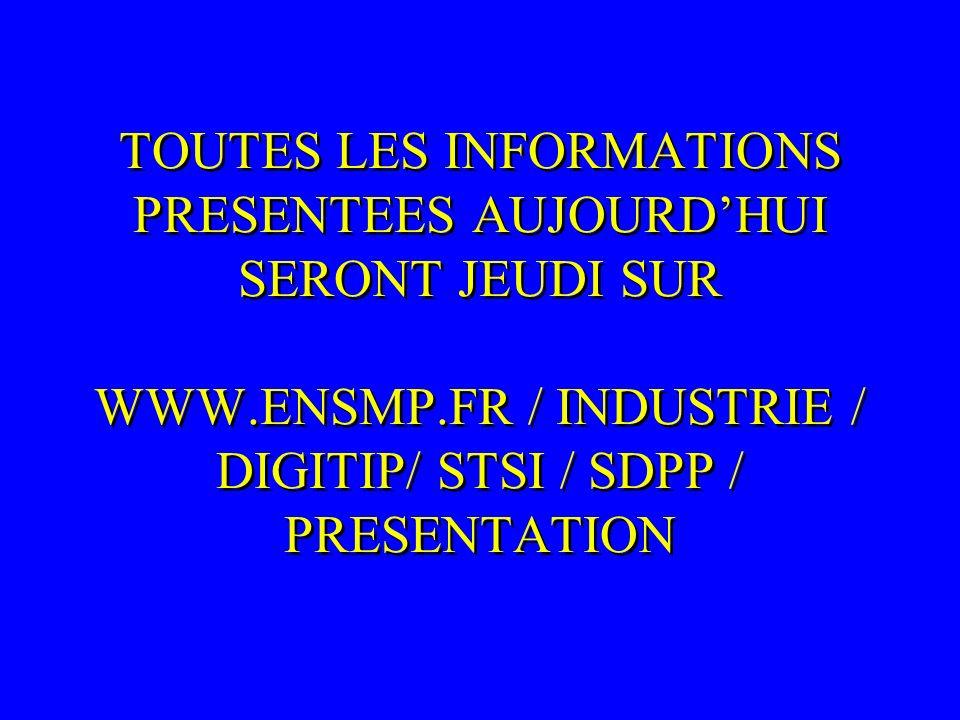 TOUTES LES INFORMATIONS PRESENTEES AUJOURDHUI SERONT JEUDI SUR WWW.ENSMP.FR / INDUSTRIE / DIGITIP/ STSI / SDPP / PRESENTATION