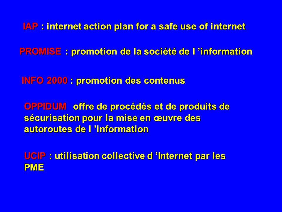 IAP : internet action plan for a safe use of internet PROMISE : promotion de la société de l information INFO 2000 : promotion des contenus OPPIDUM of